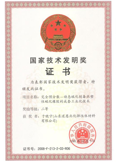 National Technological Invention Award Certificate