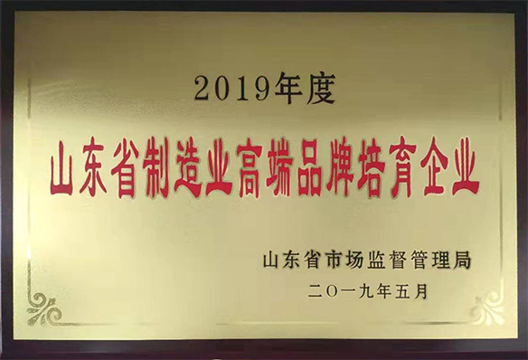 Shandong Provincial Manufacturing High-End Brand Cultivate Enterprise